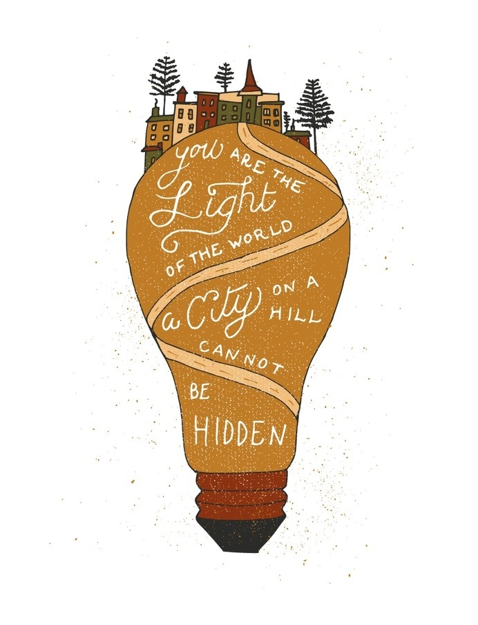 City on a hill print for Fifty Two Verses #lettering #print #illustration #lightbulb #type #light #typography