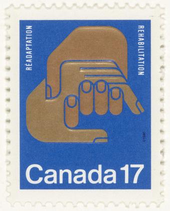 Rolf Harder, Design Collaborative Montreal Ltd. Rehabilitation Stamp. 1977 #canada #stamp #rolf #hands #harder