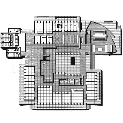 JØRN UTZONFLOOR PLAN OF THE HIGH SCHOOL AT ELSINORE, DENMARK, FIRST PRICE IN COMPETITION, 1958 #drawings #plans #interiors #utzon #architecture #jorn