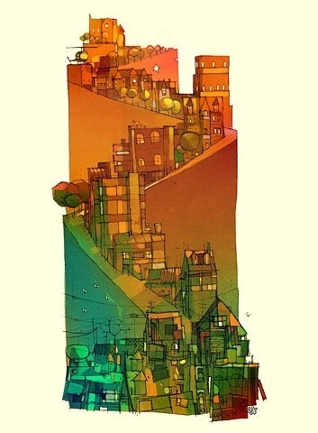 FFFFOUND! | social.ramp.PRINT by `betteo on deviantART #city #drawing #painting