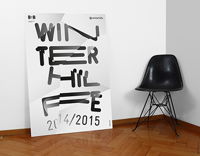 WINTERHILFE EXHIBITION POSTER by orfeo lanz #lanz #blackwhite #white #design #graphic #black #poster #and #orfeo