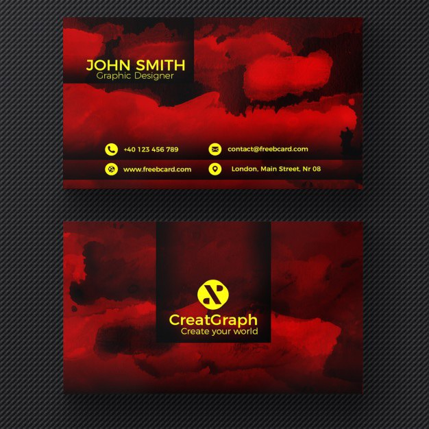 Red watercolor business card Free Psd. See more inspiration related to Logo, Business card, Mockup, Business, Abstract, Card, Template, Office, Visiting card, Presentation, Stationery, Corporate, Mock up, Company, Modern, Branding, Visit card, Identity and Brand on Freepik.