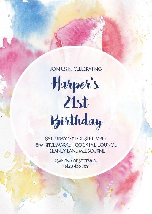 Watercolour 21st Birthday Invitation - Birthday Invitations #paperlust #birthday #invitation #birthdaycards #birthdayinvitation #watercolou