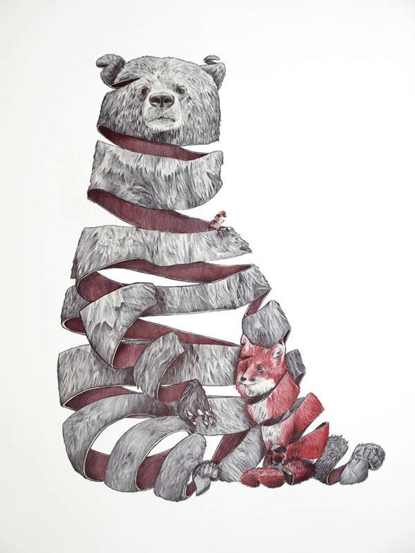 Bear and fox ribbon drawing by Jaume Montserrat #fox #illustration #ribbon #animals #bear #drawing
