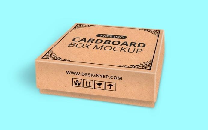 Realistic Cardboard Box Mockup