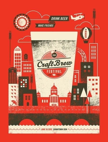 Iowa Craft Brew Festival Poster #digital #illustration #silkscreen #art