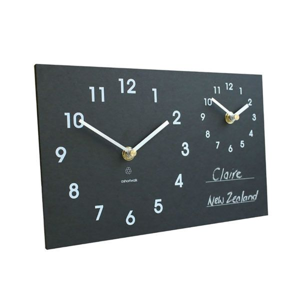 Dual Time Zone Clock he Dual Time Zone Clock is a wall-mounted clock that lets you track two different time zones – perfect for checking the time at home, and where your loved one may be residing.