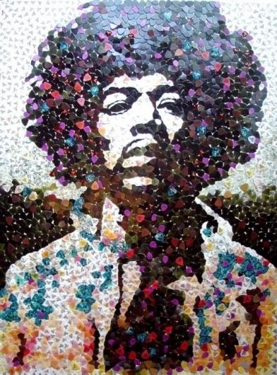 Graphic Design & Web Design Blog: Portrait of Jimmi Hendrix Made out of Guitar Picks #music