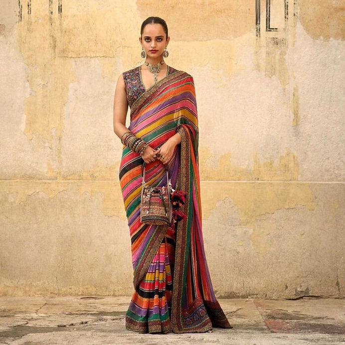 Colorfull Saree with strips