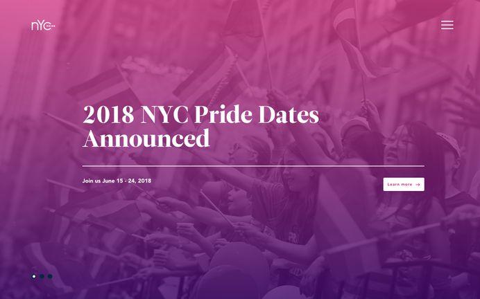 NYC Pride webpage screenshot