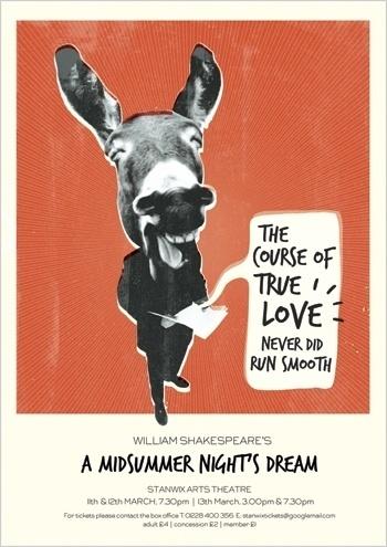 Jane Bowyer Design #donkey #shakespeare #illustration #poster #collage