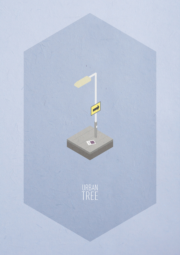 Urban Trees #urban #print #paper #illustration #poster #light