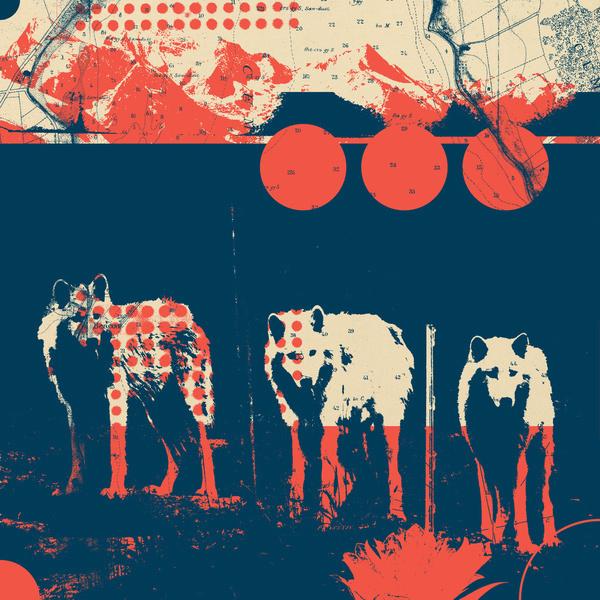 Fragments Tile 5/12 Art Print #mountain #tile #print #wolves #geometric #grid #art #wolf #flowers