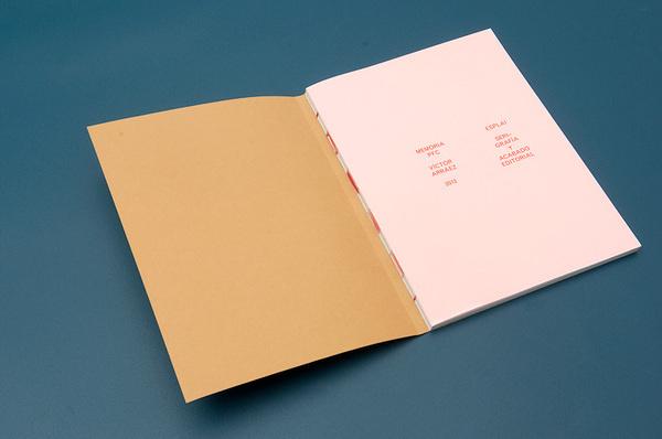 VictorArraez Esplai_Report Silkscreen_and_editorial_design Publication_02 #binding #red #book #cover #pastel
