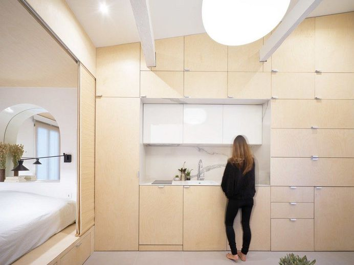 Urban Cocoon: Complete Renovation of a 27 sqm Single Room Duplex in Paris 1