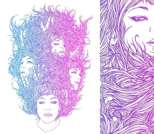 Dan Mumford: Francesca #girl #dan #screen #printing #mumford