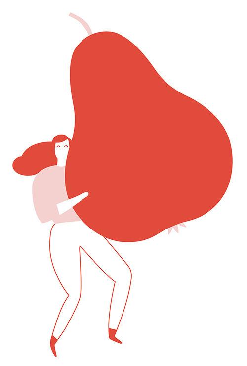 Sabrina Arnault / Illustration #pear #illustration #fruit #red