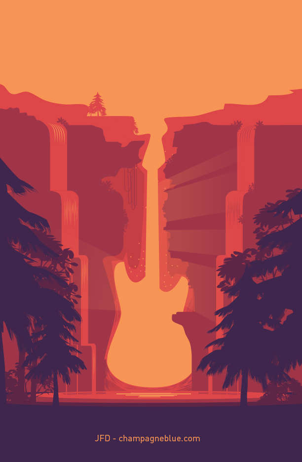 New print and other stuff like duvets (!) and... | champagneblue #guitar #vector #negative #design #space #landscape #cliff #illustration #art #gap #music