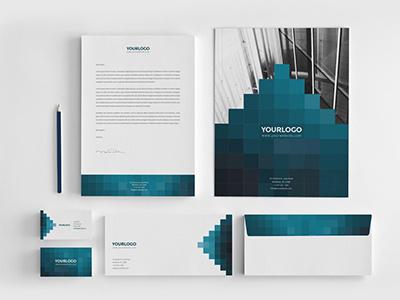 Pixels Stationery Pack. Download here: http://graphicriver.net/item/pixels-stationary-pack/6604018?ref=abradesign #pattern #modern #geometric #professional #minimal #gradient #stationery #blue #pixels