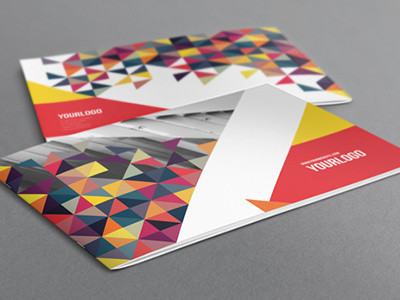 Colorful Triangles Brochure. Download here: http://graphicriver.net/item/colorful-triangles-brochure/6860256?ref=abradesign #pattern #catalog #modern #print #colorful #minimal #triangles #template #brochure