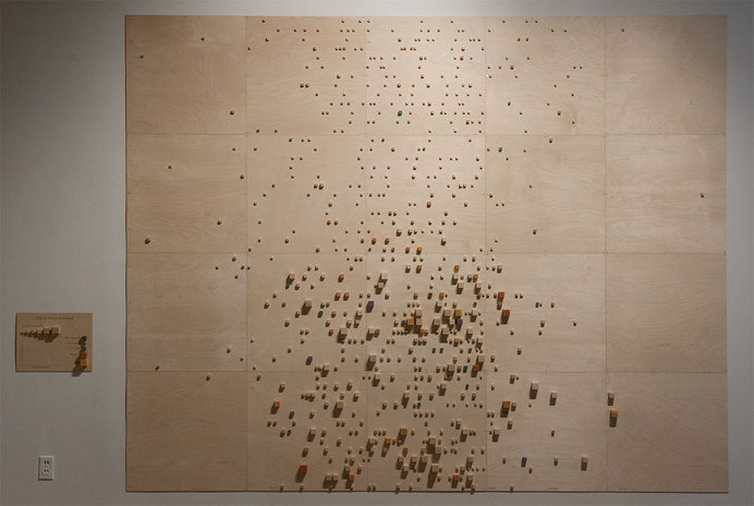 Nightly Sleep Analyzed, 8 ft x 10 ft, lasercut wood, blocks and pigment. 2014 #infographic #frick #laurie #data #art