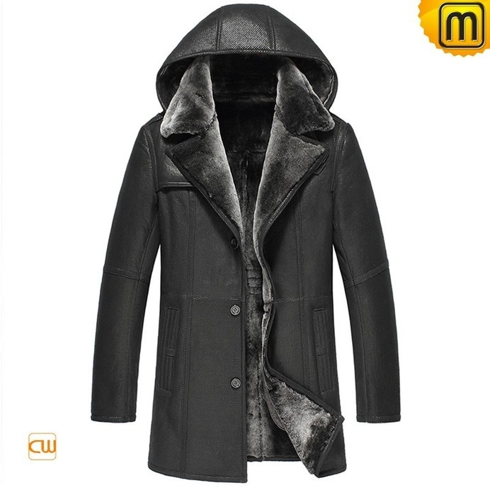 Fur Lined Sheepskin Coat with Hood CW856044 #sheepskin #coat #fur #lined