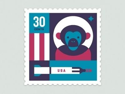 Dribbble - Space Animal Stamp Series - Ham by Eric R. Mortensen #stamp #illustration #chimp #letterpress