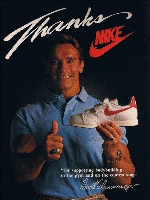 shutupandrun:My how relevant athletes change. Hey, Arnold. #nike #arnie