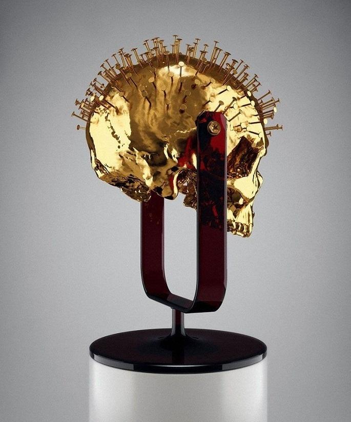 Hedi Xandt - Gold Sculpture #sculpture #skeleton #macabre #design #statue #art #nails #skull