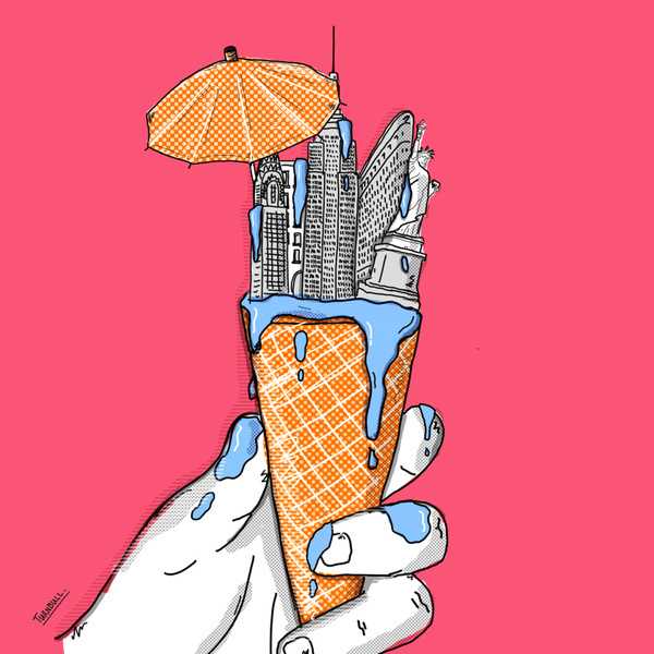 Summer heat waves, An illustrated NY #turnbull #yodel #cream #cone #global #travel #adam #summer #nyc #ice