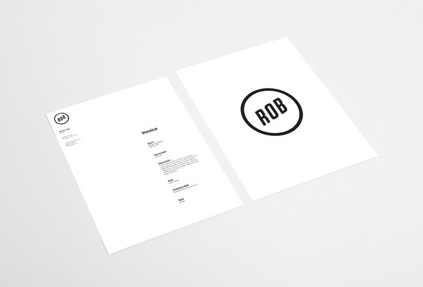 Robbie Junge Identity cargocollective.com/robbiejunge #invoice #stationary #modern #clean #justified #grid #simple #personal #logo #blackandwhite #typography