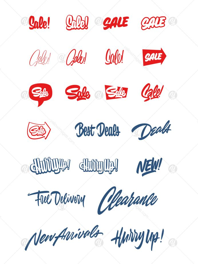 Sale bundle in Lettering on Yellow Images Creative Store