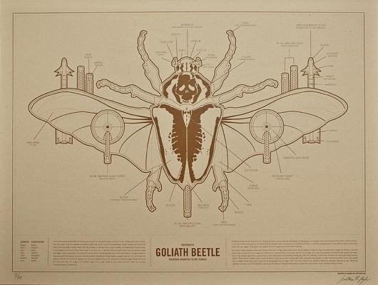 FPO: Weaponized Goliath Beetle Print #diagram #infographic #design #illustration