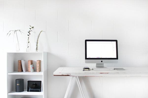 Tumblr Interior Brick White Office Sorbet Desk Minimal