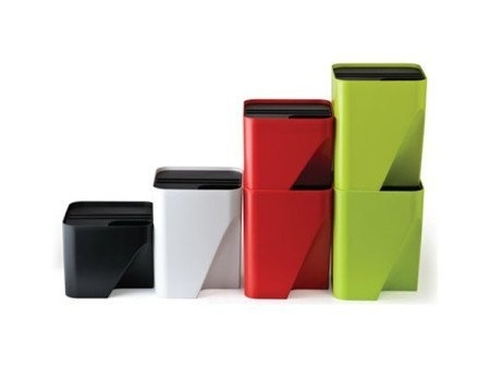 Vibrant Stackable Bins make trash collecting and recycling fun and easy while saving space! #design #home #bin #product #industrial