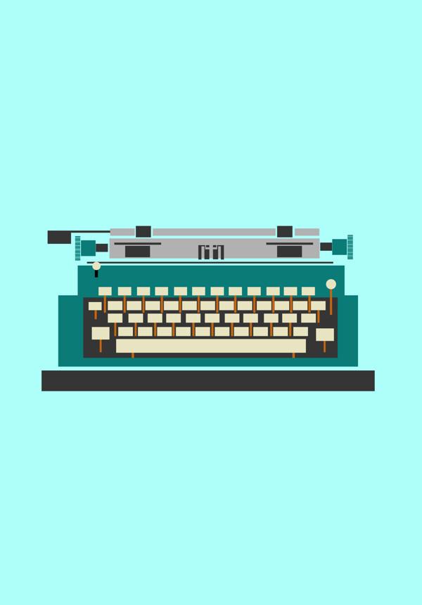 objects on Behance #graphics #illustration #retro #colourful #typewriter #yasemin yildirim