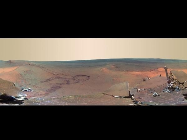 'Greeley Panorama' from Opportunity's Fifth Martian Winter - False Color #mars #nasa #opportunity