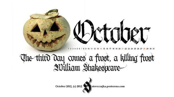 October 2012 #calligraphy #halloween #2012 #calendar #october #type #typography