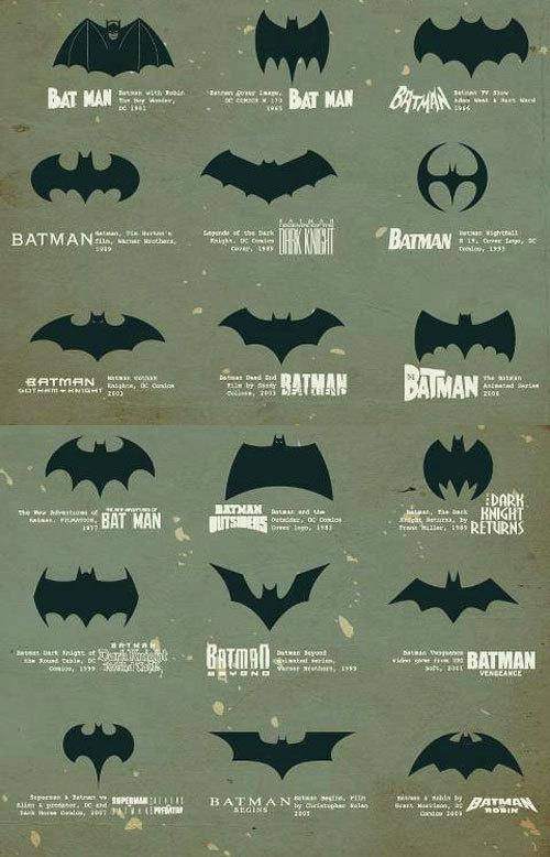 Batman logo evolution #logos #branding #process #icons #batman #evolution