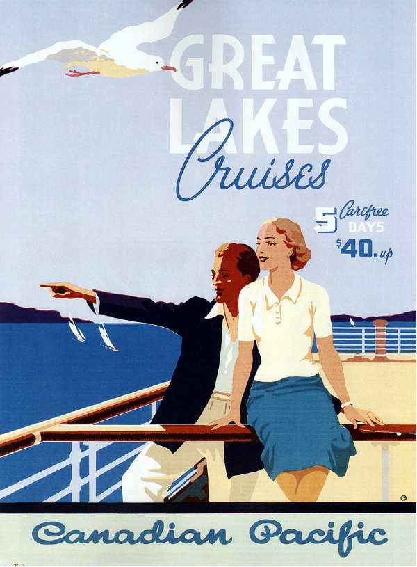 Norman Fraser. Great Lakes Cruises. 1939 #illustration #travel #vintage #poster