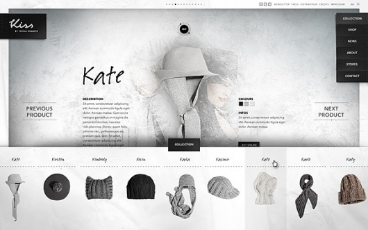 Website / Kiss by Fiona Bennett on the Behance Network #design #ui #website #ecommerce #web