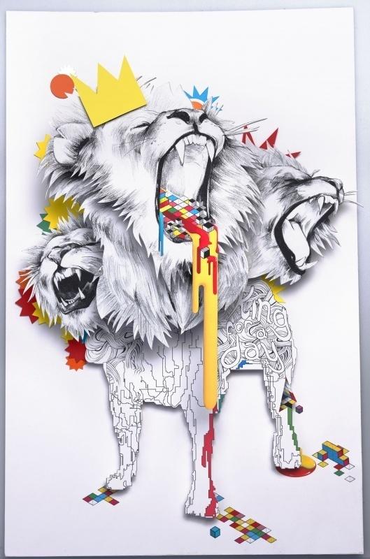 Vault49 | Portfolios | 3D Sets | Iso Lion #lion #design #illustration #bricks #3d