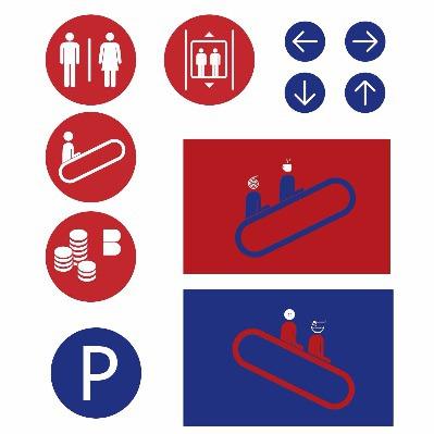 Wayfinding | Signage | Sign | Design 蓝红色调导视系统