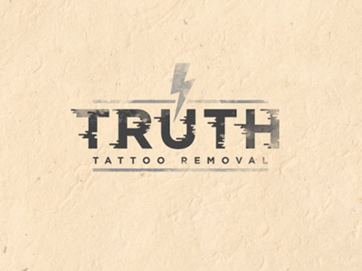 Truth Tattoo Removal #truth #branding #cream #design #graphic #rough #removal #typographic #bolt #lightning #tattoo #identity #grey #type #dusty #worn #typography