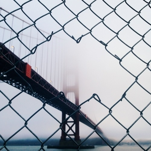 The Bridge - Connor McSheffrey - this isn't happiness™ photo caption contains external link #photography #fence #fog #san francisco #bridg