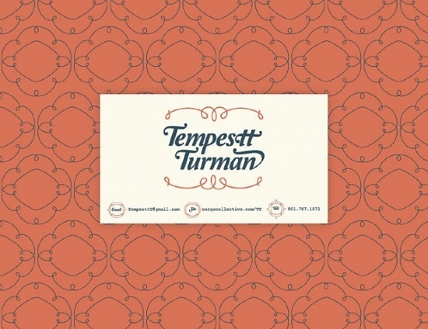 Tempestt - details #business #card #mint #vintage #type #blue