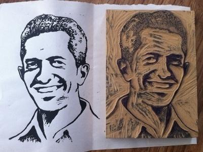 Dribbble - Block print portrait by Leonel Toribio #print #linoleum #block #portrait #man #carve