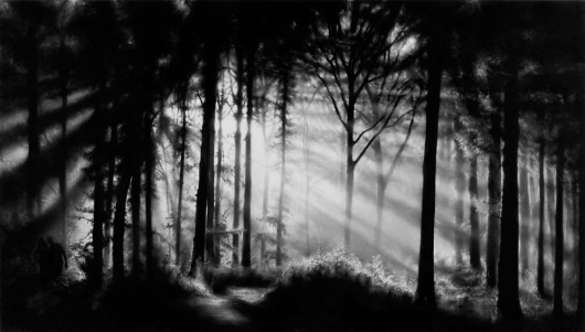 ROBERT LONGO - Works - THE MYSTERIES, 2009 - Untitled (In the Garden, Et in Arcadia Ego) #blackwhite #robert #longo #charcoal #forest #light