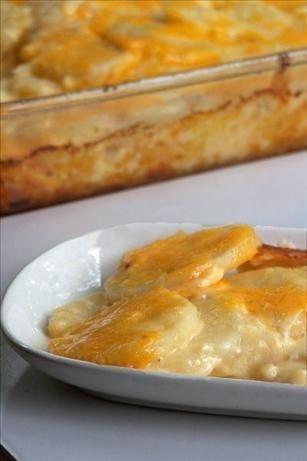 Simply Rich Cheddar Scalloped Potatoes #potato