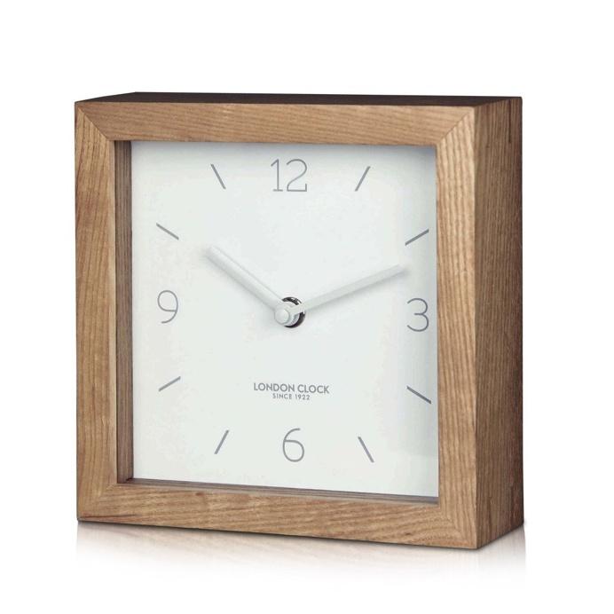 London Clock Company 'Tid' Mantel Clock, White and Wood, 16cm x 16cm x 5cm